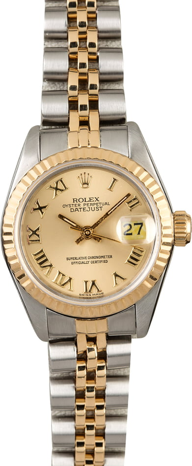 Used Rolex Datejust 69173 Champagne Roman