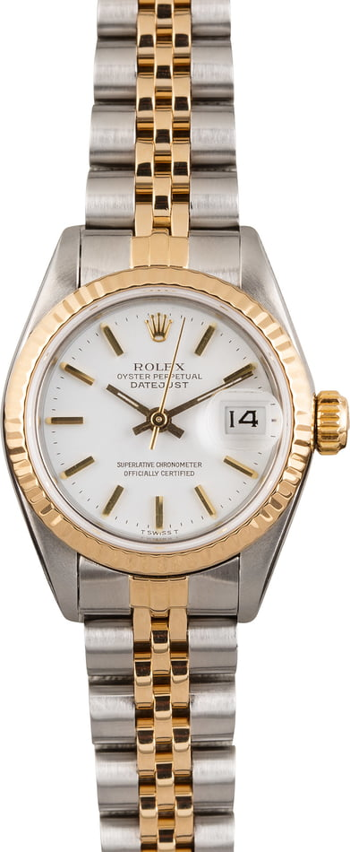 PreOwned Rolex Lady Datejust 69173 White Index Dial