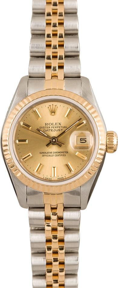 Pre-Owned Rolex Datejust 69173 Champagne Index Dial