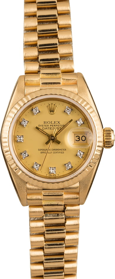Rolex Ladies Datejust Watch 69178 with Diamond Dial