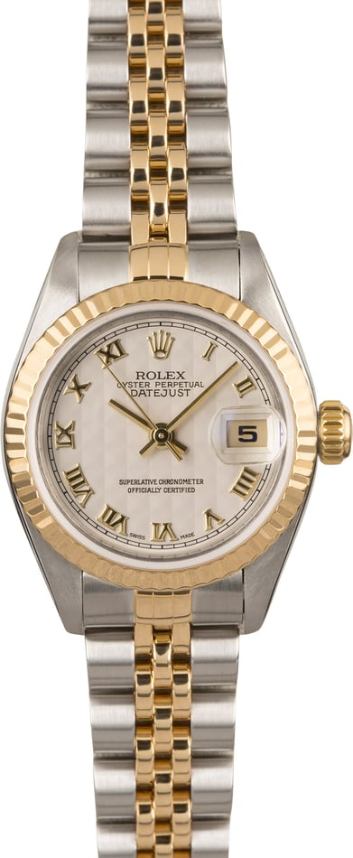 Ladies Rolex Datejust 79173 Ivory Pyramid Roman Dial