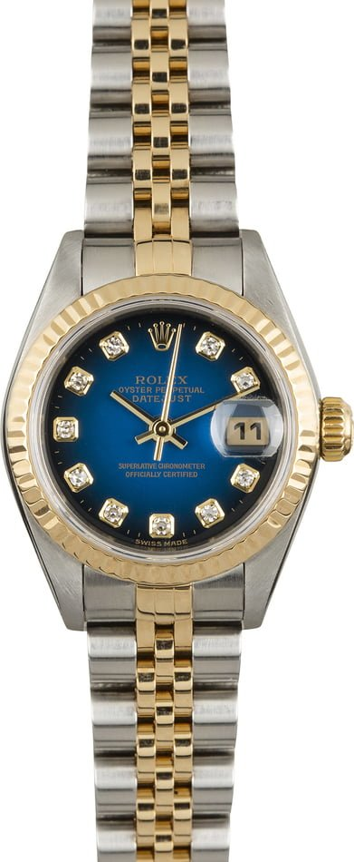 Rolex Ladies Datejust 79173 Blue Vignette Diamond Dial