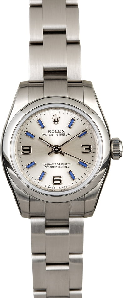 Pre Owned Rolex Lady Oyster Perpetual 176200 Blue Index