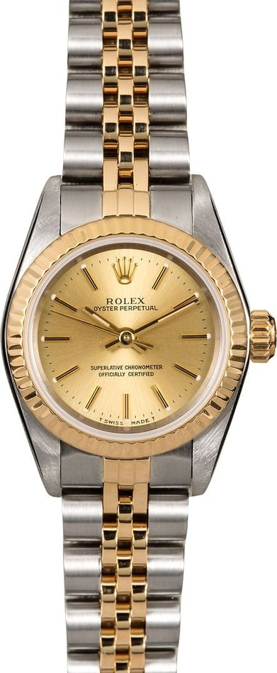 Rolex Ladies Oyster Perpetual 67193 Champagne Dial