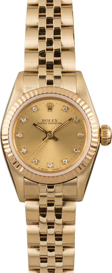 PreOwned Rolex Oyster Perpetual 67197 Diamond Dial