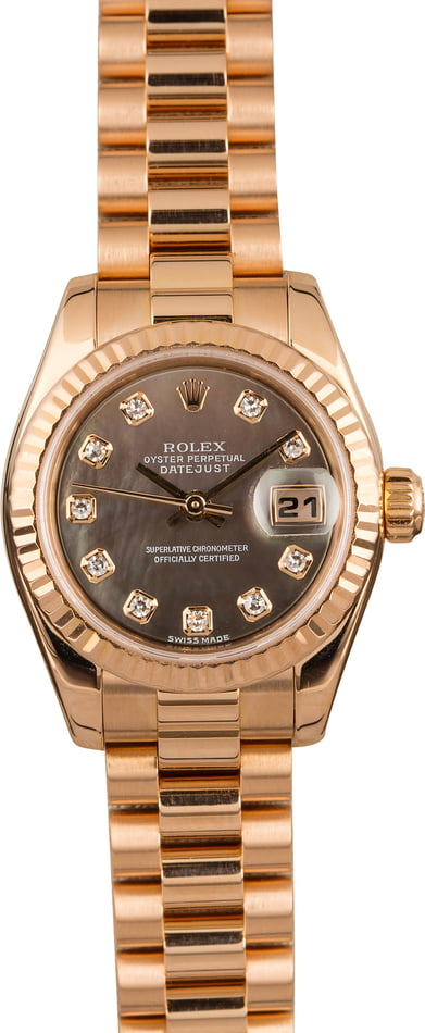 Pre Owned Rolex Ladies Rose Gold President 179175 Diamond Dial