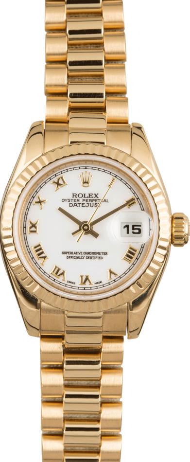 Lady Rolex President 179178 White Roman