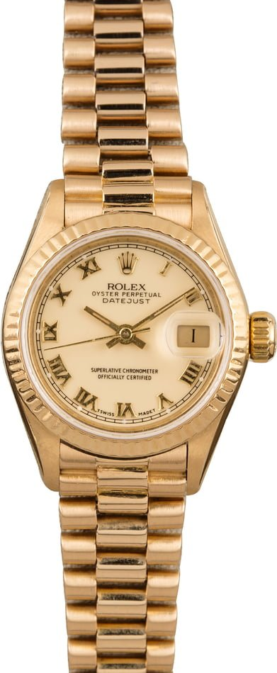 Used Rolex Lady President 69178 Ivory Roman Dial