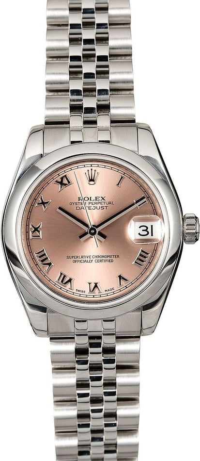 Mid-Size Rolex Datejust 178240 Pink Roman Dial