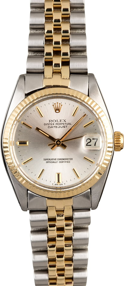Mid-Size Rolex Datejust 6827 Silver Dial