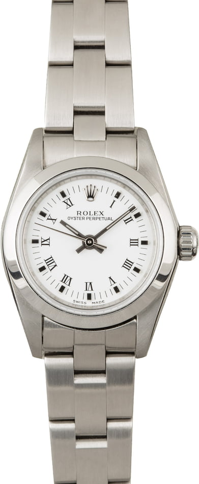 Used Rolex Ladies Oyster Perpetual 76080 White Roman Dial