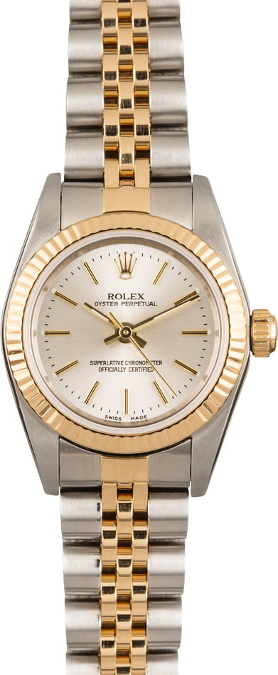 Used Rolex Oyster Perpetual 76193 Stainless Steel and 18k Yellow Gold