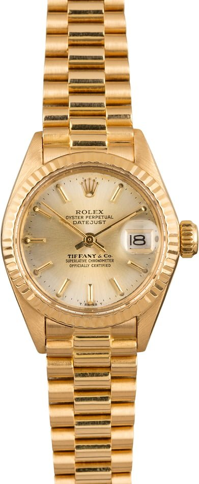 Pre Owned Rolex President 6917 Champagne Tiffany & Co. Dial