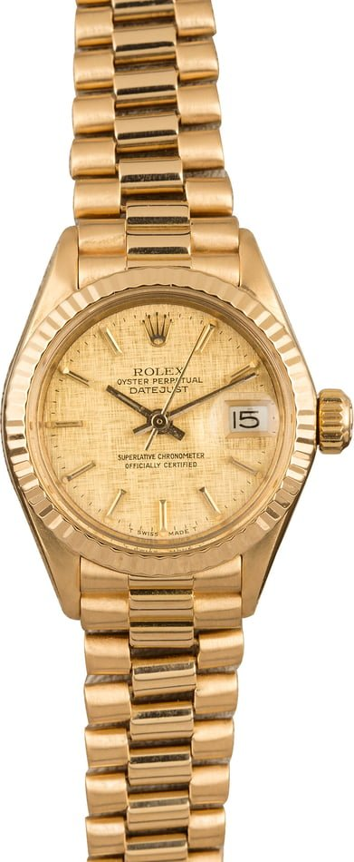 Pre Owned Ladies Rolex President 6917 Champagne Linen Dial