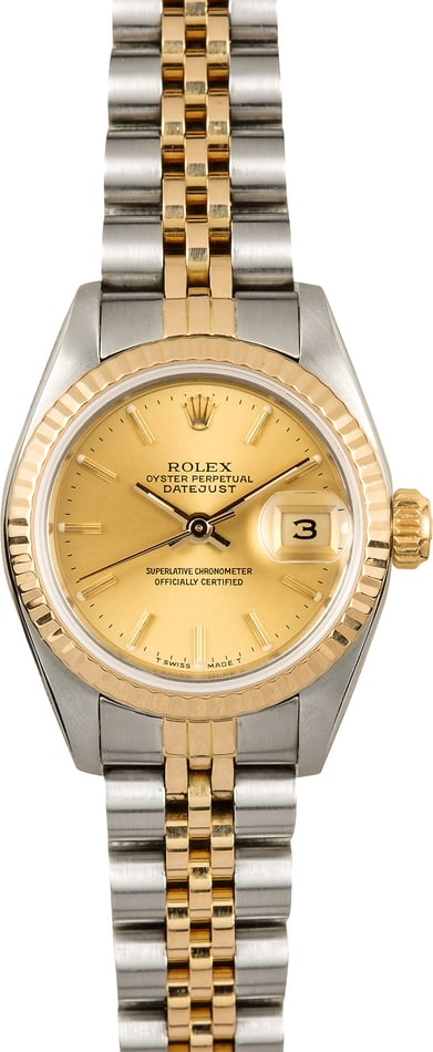 Rolex Two-Tone Ladies Datejust 69173 Champagne