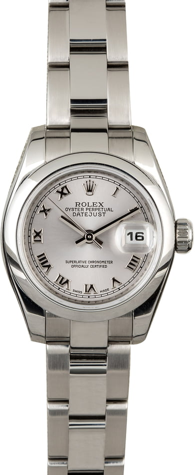 PreOwned Rolex Ladies Datejust 179160 Rhodium Roman