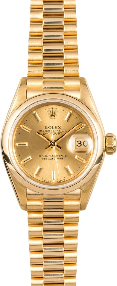 Ladies Gold Rolex Datejust 69178 Smooth Bezel