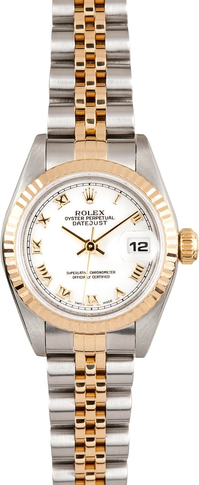 Ladies Rolex Datejust 69173 White Roman Dial