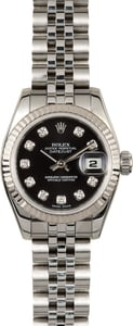 Rolex Lady Datejust 179174 Black Diamond Dial 100% Authentic