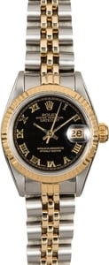 Rolex Lady Datejust 69173 Black Pyramid Roman Dial