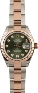 PreOwned Rolex Lady Everose Datejust 279171 Olive Diamond Dial