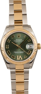 Used Rolex Datejust 178273 Mid-size Olive Green Dial