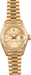 Pre-Owned Rolex Lady President 69178 Champagne Tapestry Dial