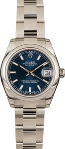 Pre-Owned Rolex Datejust 31MM 178240 Blue Dial