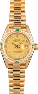 Rolex Ladies President 69078 Diamonds & Emeralds