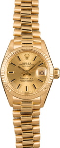 Pre-Owned Rolex Ladies President 6917 Tiffany & Co. Dial
