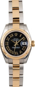 Used Ladies Rolex DateJust 179173 Black Sunbeam Dial