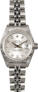 Lady-Datejust Rolex 79174 Silver Diamond Dial