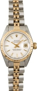 Used Rolex Lady Datejust 69173 Silver Tapestry Dial