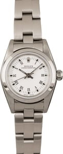 Pre Owned Rolex Ladies Oyster Perpetual 76080 White Roman Dial