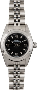 Pre Owned Rolex Ladies Oyster Perpetual 76080 Black Dial