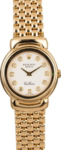 Ladies Rolex Cellini 6621 White Diamond Dial