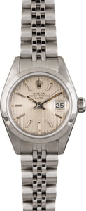 Used Rolex Date 69160 Silver Tapestry Dial