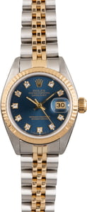 Used Ladies Rolex DateJust 69173 Blue Diamond Dial