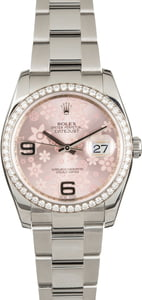 Used Rolex Datejust 116244 Diamond Bezel Pink Floral Dial