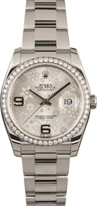 Used Rolex Datejust 116244 Diamond Bezel Silver Floral Dial