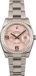 Pre Owned Rolex Datejust 116244 Floral Dial Diamond Bezel