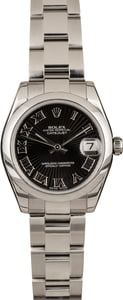 Pre Owned Rolex Mid-Size DateJust 178240 Black Dial