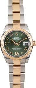Pre Owned Rolex Datejust 178273 Mid-size Olive Green Dial