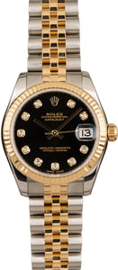 Used Mid-Size Rolex Datejust 178273 Black Diamond Dial