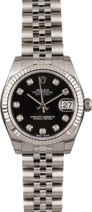 Unworn Rolex Datejust 178274 Black Diamond Dial