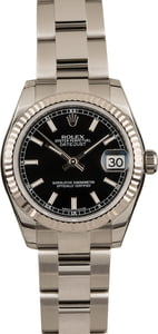 Pre Owned Rolex Ladies Datejust 178274 Black Dial