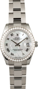 Rolex Datejust 178384 Mid-Size Watch Diamond Bezel