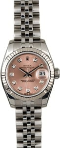 Rolex Ladies Datejust 179174 Salmon Diamond Dial