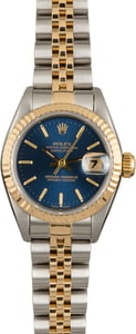 Used Rolex Ladies Datejust 69173 Blue Dial