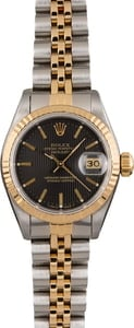 Pre Owned Rolex Datejust 69173 Black Tapestry Index Dial